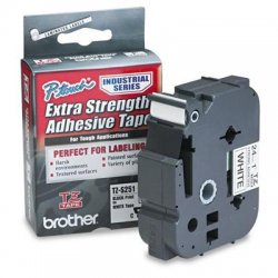 "Brother International - TZS-251 - Brother P-Touch TZ Laminated Tape - 1"" Width x 26.20 ft Length - Direct Thermal - White - 1 Roll"