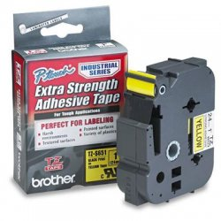 "Brother International - TZS651 - Brother P-Touch TZ Industrial Laminated Tape - 1"" Width - Yellow - Polyethylene - 1 Each"