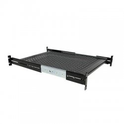 "StarTech - UNISLDSHF19 - StarTech.com 2U Adjustable Mounting Depth Vented Sliding Rack Mount Shelf - 50lbs / 22.7kg - 19"" 2U Wide - Black - Cold-rolled Steel (CRS) - 50 lb x Maximum Weight Capacity - TAA Compliant"