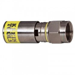 Klein Tools - VDV812-612 - Klein Tools Universal F Compression Connector - RG6/6Q (50-Pack) - 50 Pack - 1 x F Connector - Nickel - Yellow, Nickel