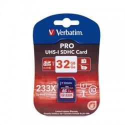 Verbatim / Smartdisk - 44032 - Verbatim 32GB 233X Pro SDHC Pro Memory Card, UHS-1 Class 10 - Class 10/UHS-I - 35 MBps Read - 1 Card - 233x Memory Speed