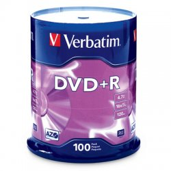 Verbatim / Smartdisk - 95098 - Verbatim AZO DVD+R 4.7GB 16X with Branded Surface - 100pk Spindle - 2 Hour Maximum Recording Time