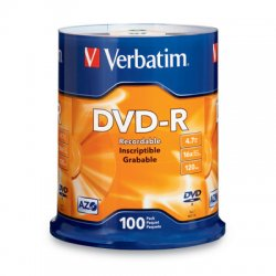 Verbatim / Smartdisk - 95102 - Verbatim AZO DVD-R 4.7GB 16X with Branded Surface - 100pk Spindle - DVD-R - 16x - 4.70 GB - 100pk Spindle