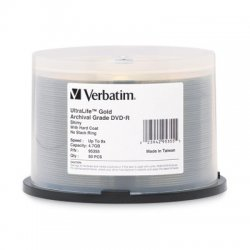 Verbatim / Smartdisk - 95355 - Verbatim DVD-R 4.7GB 16X UltraLife Gold Archival Grade with Branded Surface and Hard Coat - 50pk Spindle