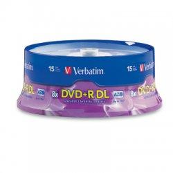 Verbatim / Smartdisk - 95484 - Verbatim DVD+R DL 8.5GB 8X with Branded Surface - 15pk Spindle