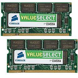 Corsair - VS4GSDSKIT667D2 - Corsair Value Select 4GB DDR2 SDRAM Memory Module - 4GB (2 x 2GB) - 667MHz DDR2-667/PC2-5300 - Non-ECC - DDR2 SDRAM - 200-pin SoDIMM