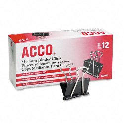 Acco Brands - A7072050 - ACCO Binder Clips, Medium, 12 per box - Medium - 0.63 Size Capacity - Reusable - 1 / Dozen - Black - Metal, Plastic, Tempered Steel