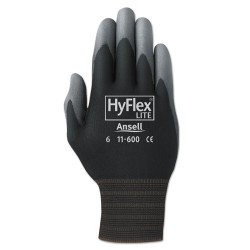 Ansell-Edmont - 012-11-600-9-BK - HyFlex Lite Gloves, Black/Gray, Size 9, 12 Pairs
