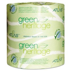 Atlas Paper Mills - 280GREEN - Green Heritage Toilet Tissue, 4.4 x 4.4 Sheets, 2-Ply, 500/Roll, 80 Rolls/CT