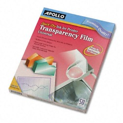Apollo - APOCG7033S - Quick-Dry Color Inkjet Transparency Film, Letter, Clear, 50/Box