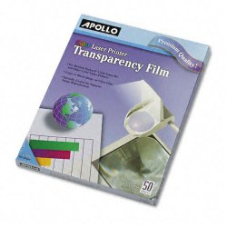 Apollo - VCG7070E - Color Laser Transparency Film, Letter, Clear, 50/Box