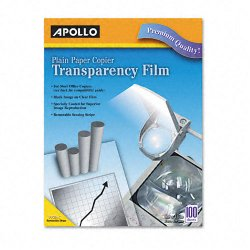 Apollo - VPP201CE - Plain Paper B/W Laser Transparency Film w/Handling Strip, Letter, Clear, 100/Box
