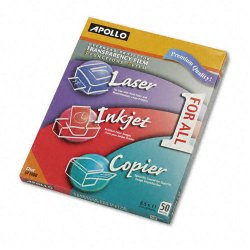 Apollo - VUF1000E - Color Laser/Inkjet Transparency Film, Letter, Clear, 50/Box