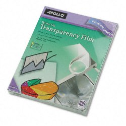 Apollo - VWO100C-BE - Write-On Transparency Film, Letter, Clear, 100/Box
