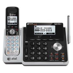 AT&T - TL88102 - AT&T TL88102 DECT 6.0 2-Line Expandable Corded/Cordless Phone with Answering System, Silver/Black, 1 Handset - Cordless - 2 x Phone Line - Speakerphone - Answering Machine - Backlight