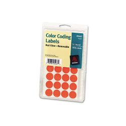 Avery Dennison - 05467 - Printable Removable Color-Coding Labels, 3/4 dia, Neon Red, 1008/Pack