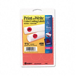 Avery Dennison - 05497 - Printable Removable Color-Coding Labels, 1 1/4 dia, Neon Red, 400/Pack