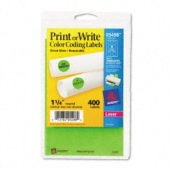 Avery Dennison - 05498 - Printable Removable Color-Coding Labels, 1 1/4 dia, Neon Green, 400/Pack