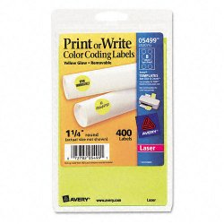 Avery Dennison - 05499 - Printable Removable Color-Coding Labels, 1 1/4 dia, Neon Yellow, 400/Pack