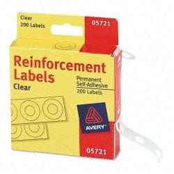 Avery Dennison - 05721 - Roll Dispenser Hole Reinforcement Label, Clear, 1/4 x 1/4, 200 PK