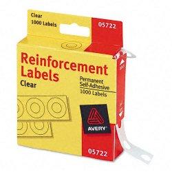 Avery Dennison - 05722 - Roll Dispenser Hole Reinforcement Label, Clear, 1/4 x 1/4, 1000 PK