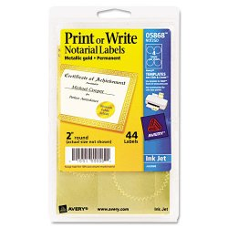 Avery Dennison - 05868 - Printable Gold Foil Seals, 2 dia, 44/Pack