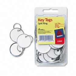 Avery Dennison - 11025 - Key Tags with Split Ring, 1 1/4 dia, White, 50/Pack