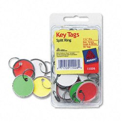 Avery Dennison - 11026 - Key Tags with Split Ring, 1 1/4 dia, Assorted Colors, 50/Pack