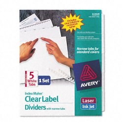 Avery Dennison - 11253 - Print & Apply Clear Label Unpunched Dividers w/White Tabs, 5-Tab, Ltr
