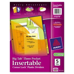 Avery Dennison - 11273 - Big Tab Plastic Dividers w/Three Pockets & Corner Lock, 5-Tab, 11 1/8 x 9 1/4