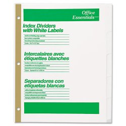 Avery Dennison - 11336 - Index Dividers w/White Labels, 5-Tab, Letter, 5 Sets