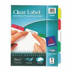 Avery Dennison - 11406 - Index Maker Print & Apply Clear Label Dividers w/Color Tabs, 5-Tab, Letter