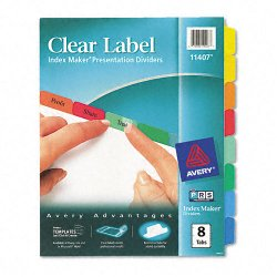 Avery Dennison - 11407 - Index Maker Print & Apply Clear Label Dividers w/Color Tabs, 8-Tab, Letter