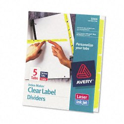 Avery Dennison - 11414 - Print & Apply Clear Label Dividers w/Color Tabs, 5-Tab, Letter, 5 Sets