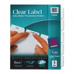 Avery Dennison - 11416 - Index Maker Print & Apply Clear Label Dividers w/White Tabs, 5-Tab, Letter