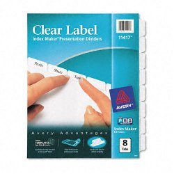 Avery Dennison - 11417 - Index Maker Print & Apply Clear Label Dividers w/White Tabs, 8-Tab, Letter