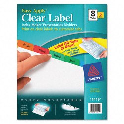 Avery Dennison - 11419 - Print & Apply Clear Label Dividers w/Color Tabs, 8-Tab, Letter, 5 Sets