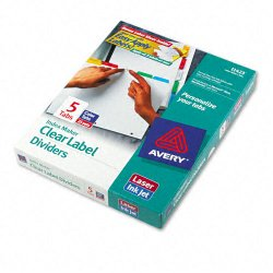 Avery Dennison - 11423 - Print & Apply Clear Label Dividers w/Color Tabs, 5-Tab, Letter, 25 Sets