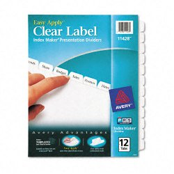 Avery Dennison - 11428 - Index Maker Print & Apply Clear Label Dividers w/White Tabs, 12-Tab, Letter