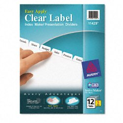 Avery Dennison - 11429 - Print & Apply Clear Label Dividers w/White Tabs, 12-Tab, Letter, 5 Sets