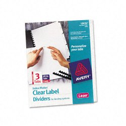 Avery Dennison - 11430 - Print & Apply Clear Label Unpunched Dividers, 3-Tab, Ltr, 5 Sets