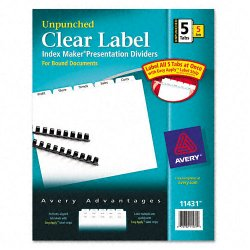 Avery Dennison - 11431 - Print & Apply Clear Label Unpunched Dividers, 5-Tab, Ltr, 5 Sets