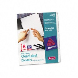 Avery Dennison - 11432 - Print & Apply Clear Label Unpunched Dividers, 8-Tab, Ltr, 5 Sets