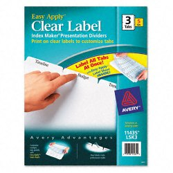 Avery Dennison - 11435 - Print & Apply Clear Label Dividers w/White Tabs, 3-Tab, Letter, 5 Sets