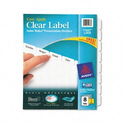 Avery Dennison - 11437 - Print & Apply Clear Label Dividers w/White Tabs, 8-Tab, Letter, 5 Sets