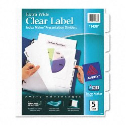 Avery Dennison - 11438 - Print & Apply Clear Label Dividers w/White Tabs, 5-Tab, 11 1/4 x 9 1/4