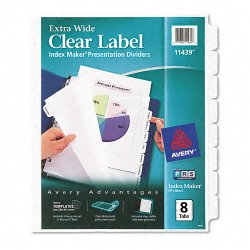 Avery Dennison - 11439 - Print & Apply Clear Label Dividers w/White Tabs, 8-Tab, 11 1/4 x 9 1/4