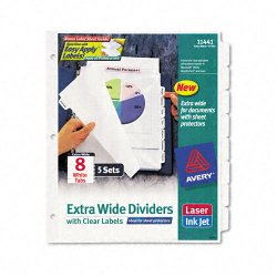 Avery Dennison - 11441 - Print & Apply Clear Label Dividers w/White Tabs, 8-Tab, 11 1/4 x 9 1/4, 5 Sets