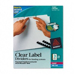 Avery Dennison - 11442 - Print & Apply Clear Label Unpunched Dividers, 3-Tab, Ltr, 25 Sets