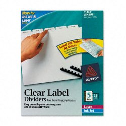 Avery Dennison - 11443 - Print & Apply Clear Label Unpunched Dividers, 5-Tab, Ltr, 25 Sets